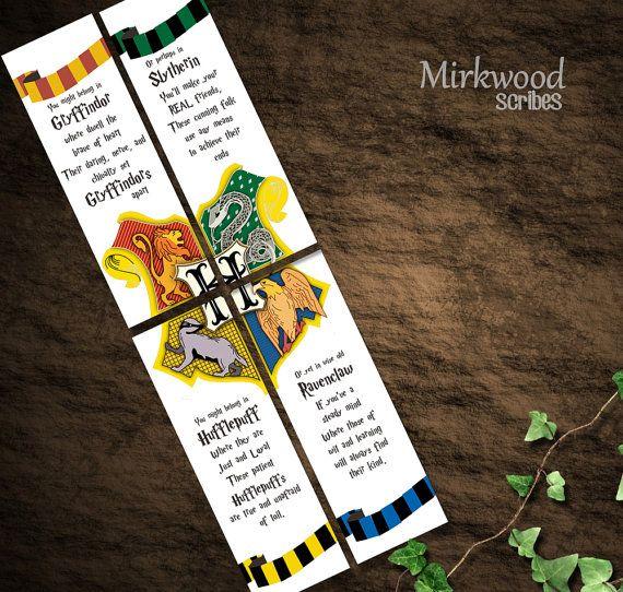 Harry Potter Bookmarks Hogwarts Houses por MirkwoodScribes