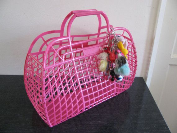 pink plastic basket purse vintage 80s by goodkisser on Etsy