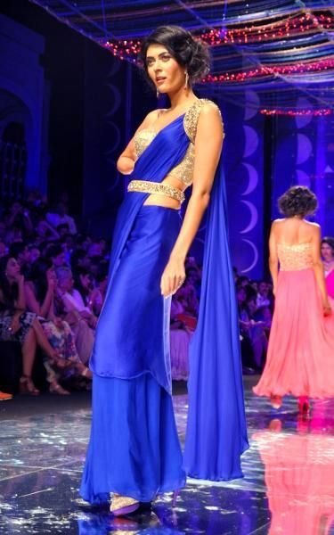 Striking Belted #Saree Gown in deep blue and shimmer by http://www.SilkThreads.com/ #Dallas