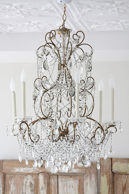 Beautiful vintage crystal chandelier       Dreamy Whites