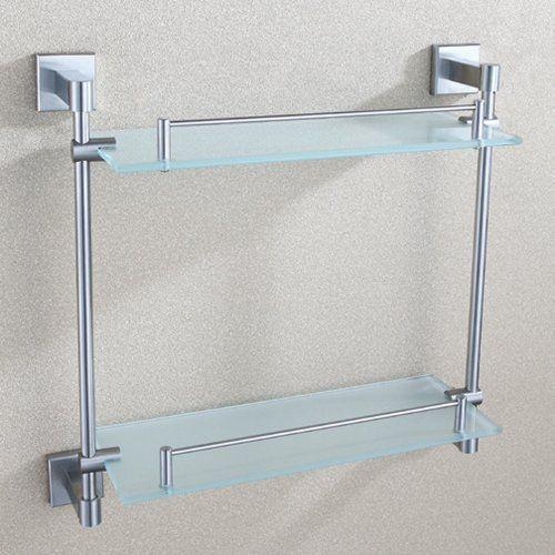 Angle Simple GA8214 Double-deck Bathroom Glass Shelf, Brushed Nickel Angle  Simple http:
