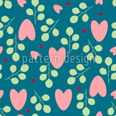 Hearts And Branches Repeating Pattern Repeating Pattern by Elena Alimpieva at patterndesigns.com
