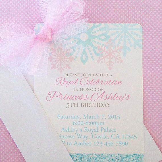 printable ice princess birthday invitations, digital snowflake princess invitations, snowflake invitation, pink and blue princess invites