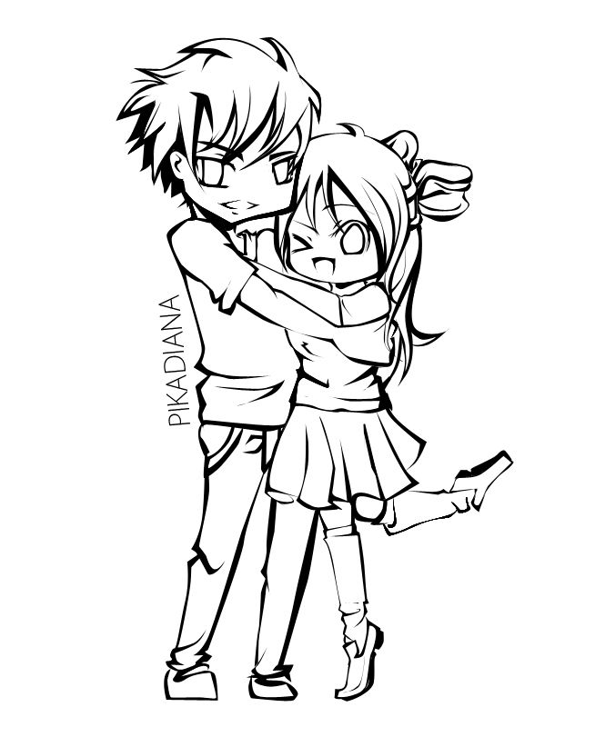 Cute Couple Coloring Pages Doodle