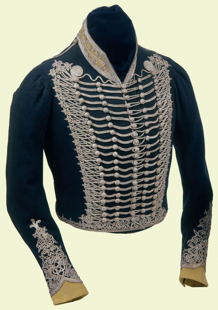 Regimental worn by Prince Regent George IV while Colonel 1796-1819 of the 10th Light Dragoons, the Prince's Own.  21 rows silver lace, 5 rows wooden buttons silver lace.    Forbidden by his father to bear arms, he collected and designed military dress and accoutrements. Patterns were submitted for his approval.The jacket would have been worn with a pelisse, a fur-trimmed loose jacket worn by Hussar regiments over the shoulder. After 1805 the 10th Light Dragoons were officially termed…