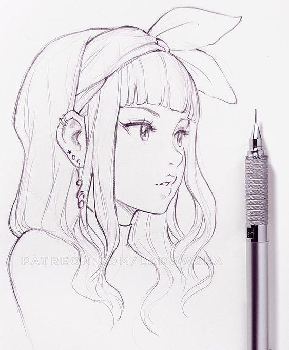 Manga Girl Skizze farbiges Design digitale Zeichnung Bleistift Stift – Sehen Sie…