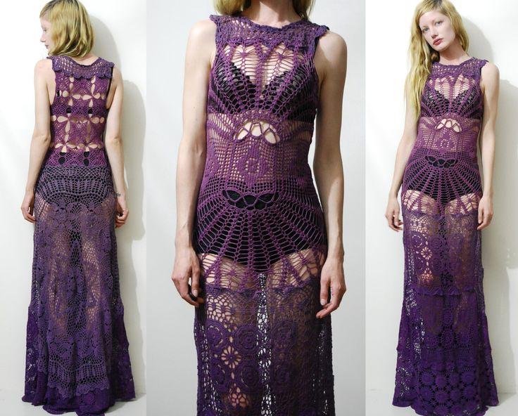 Crochet Dress VINTAGE LACE Spiderweb Purple OMBRE par cruxandcrow