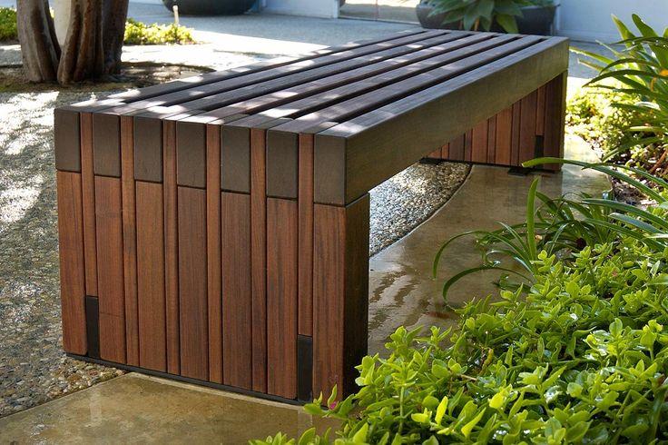 Hudson Bench shown in 6 foot, surface mount configuration with FSC® 100% Ipé hardwood slats