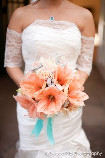 Coral amaryllis, teal, bridal bouquet.  Enchanted Garden Floral Design. www.egfloraldesign.com