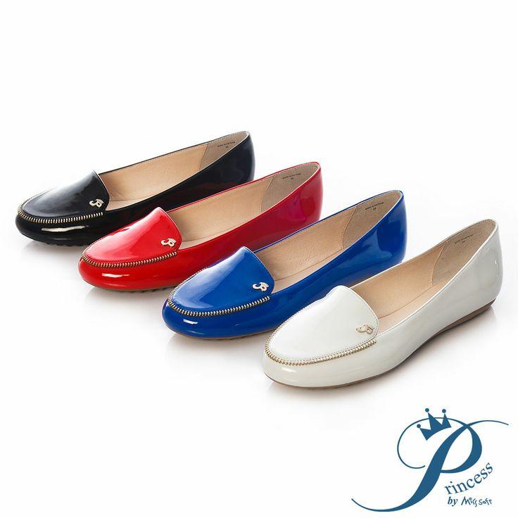 Princess-鏡面拉鍊平底樂福豆豆鞋-話題紅 - Yahoo!奇摩購物中心