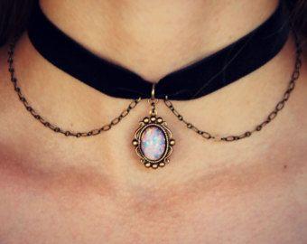 tour de cou quartz titane RAS de cou velours RAS par alapopjewelry
