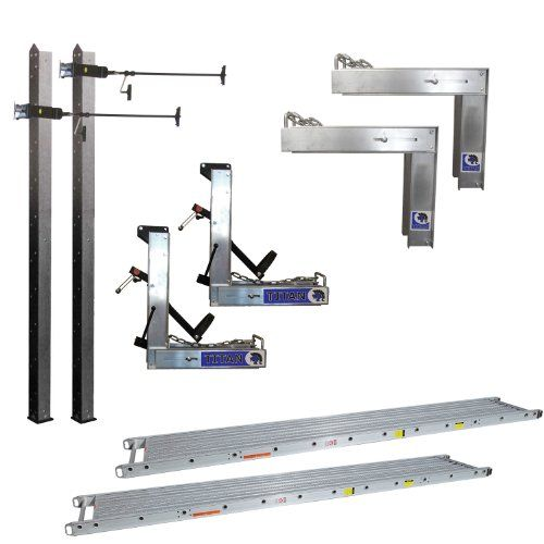 "Titan Aluminum Pump Jack Scaffold System - Package #3:   Pump Jack Package Includes: (2) 24' Aluminum Poles (with mud pad), (2) Aluminum Pump Jacks, (2) Pump Jack Braces, (2) Aluminum Pump Jack Work Benches, (2) 14"" x 24' 500 lbs. Capacity Stages"