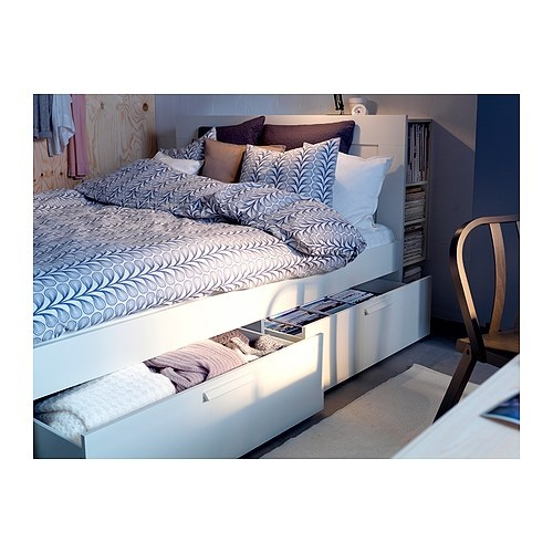 BRIMNES Bed Frame W Storage+slatted Bedbase IKEA The Four Drawers In The Bed  Frame