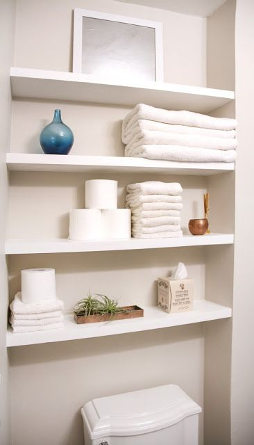 Small Bathroom Makeover On A Budget, Including SOLID Wood Floating Shelves.  SwingNCocoa