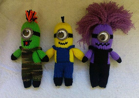 Hand-knitted Minion Toy, Minion Character With An Eye That Moves, Yellow, Purple, or Unique Green Minion, Beedoo, Stuffed Creature