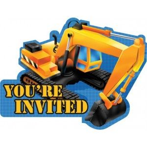 Construction Trucks 8 Party Invitations