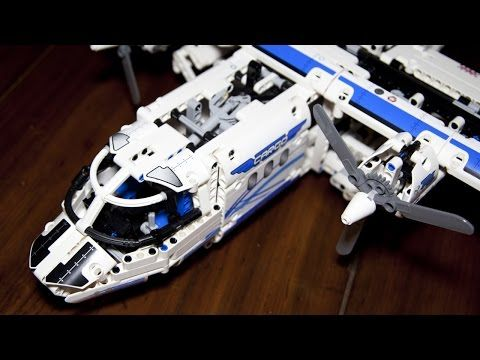 Lego Technic 42025 Cargo Plane and Hovercraft Speed Build with Power Functions - YouTube