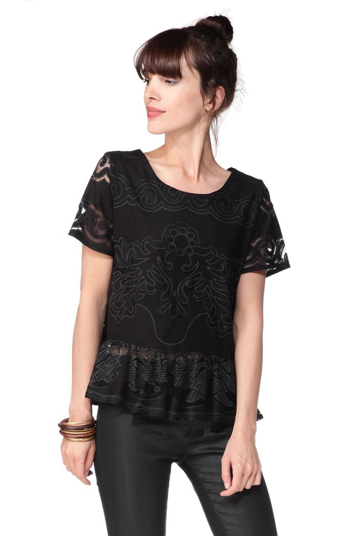 Top noir fleurs dentelle Burnout Pepaloves sur MonShowroom.com