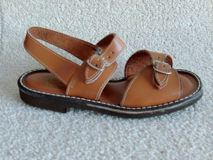 The original 1970S vintage childrens unisex jesus sandals in brown leather
