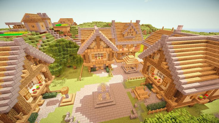 Minecraft Village - roof elements, clever well, nice details throughout.