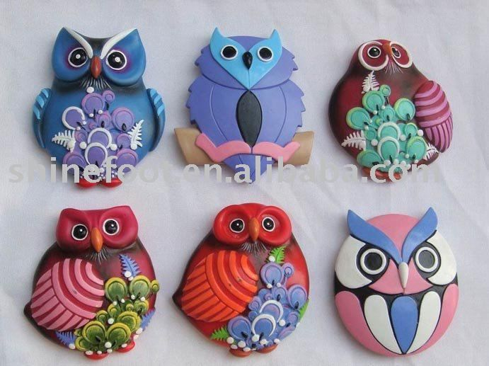 owls from polymer clay - would make lovely pendants!
