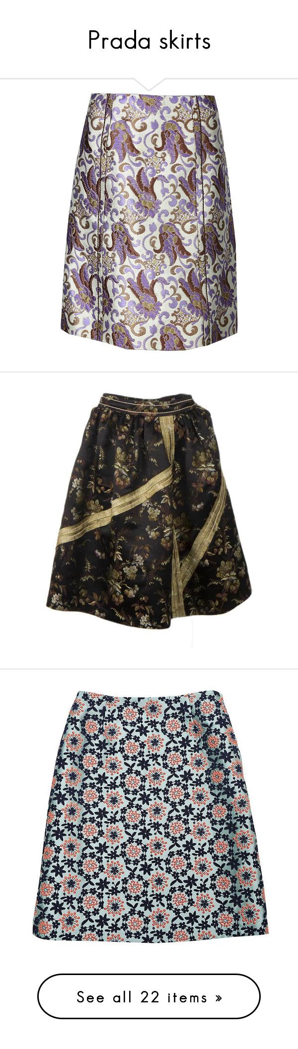 """Prada skirts"" by missloveschic ❤ liked on Polyvore featuring skirts, tulip skirt, prada, prada skirt, black skirt, black knee length skirt, green skirt, beige skirt, yellow skirt and a line skirt"