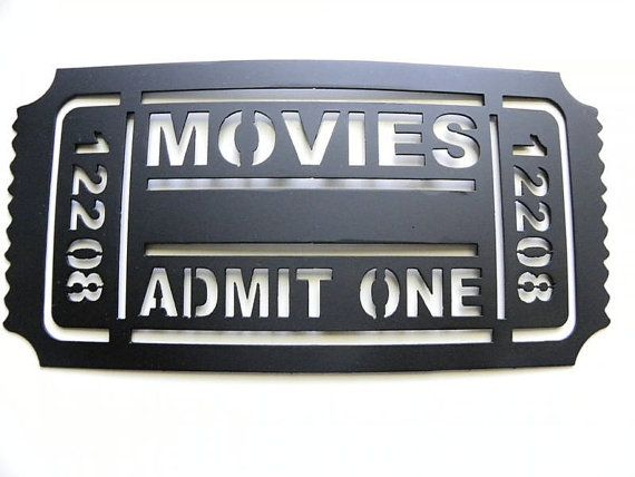 Movie Ticket 2FT Home Theater Decor Movies Admit One Metal Wall Art Black