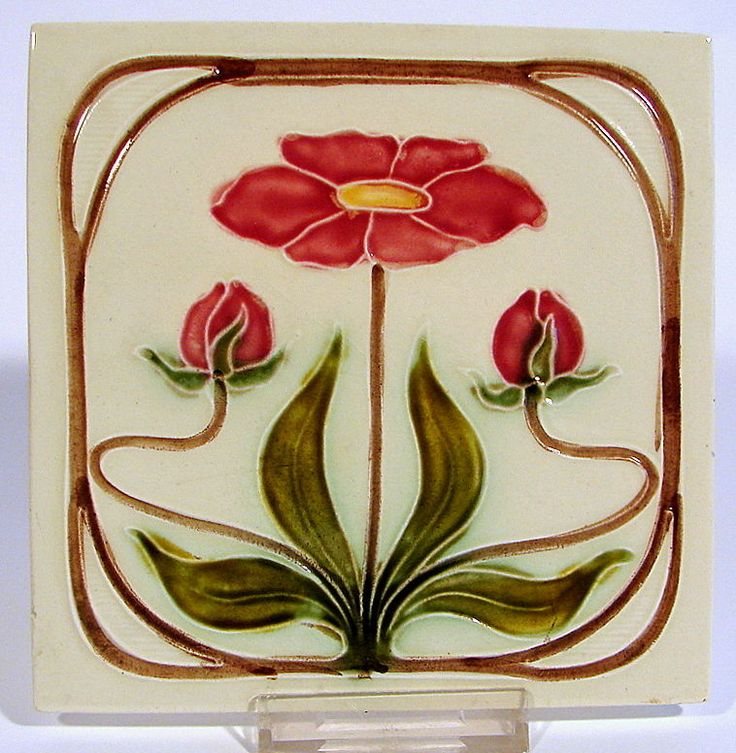 Jugendstil Fliese Kachel Georg Schmider Möbelfliese Tile Tegel Art Nouveau -3-