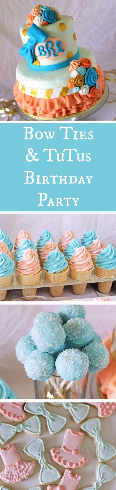 Bow Ties & Tutus Birthday Party RoseBakes.com