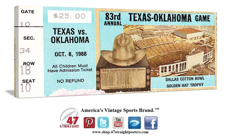 1988 OU vs. Texas football ticket art on canvas. Game room art and office sports art that makes a unique Father's Day gift idea for college football fans. OU Sooners gifts. Texas Longhorn gifts. 47 STRAIGHT.™  The Sooners won 28-13 in Dallas. #47straight #football #fathersdaygifts