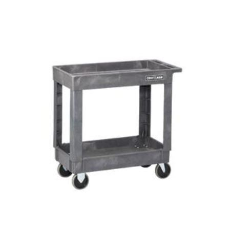 Price:       (adsbygoogle = window.adsbygoogle || []).push();  Constructed with rugged, plastic material that won't scratch, this utility cart knows how to handle tough work environments. Load it up with your toolbox and hardware for a makeshift workspace or transport heavy items...