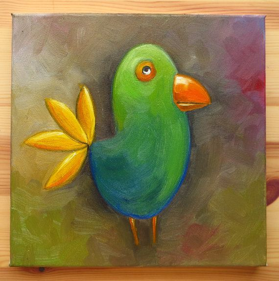 Green Bird Original Art Animals Weird Birds Weird by MikiMayoShop