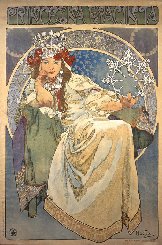 """Princess Hyacinth"" poster, 1911, by Alphonse Mucha (Czech, 1860-1939)"