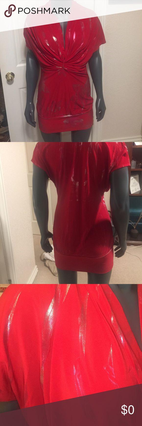 Red and Silver Mini Dress Red and Silver mini dress. Deep V front. Dresses Mini