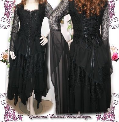 Gypsy Stevie Nicks Style Black Wedding Dress Set Custom Made Other Colours