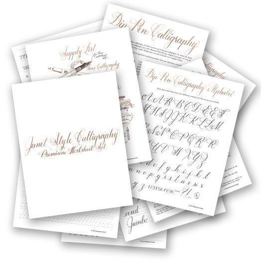 Janet style premium calligraphy worksheet set the