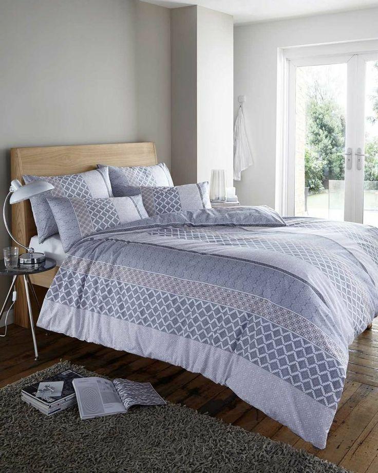 roni geometric zig zag grey black beige white duvet cover quilt bedding set