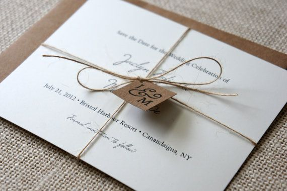 Rustic Save the Date Card Sample by DawnCorrespondence on Etsy