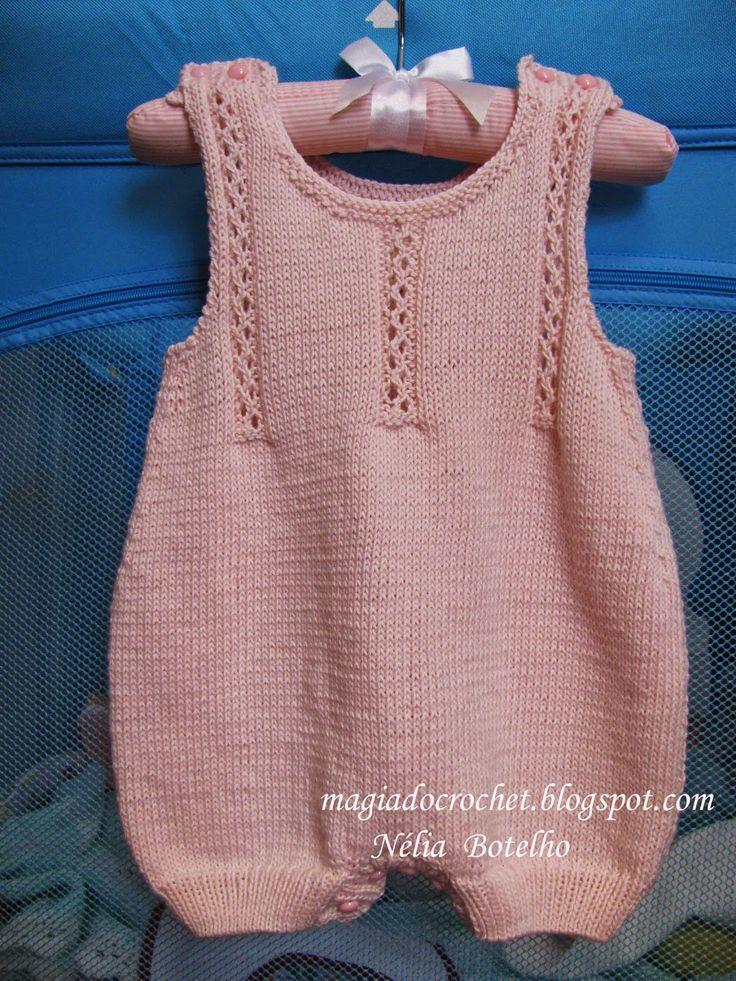 Magia do Crochet: Macacão e botinhas em tricot para bebé