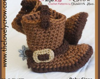 Crochet Pattern Cowboy Boots for Baby BOOT by TheLovelyCrow