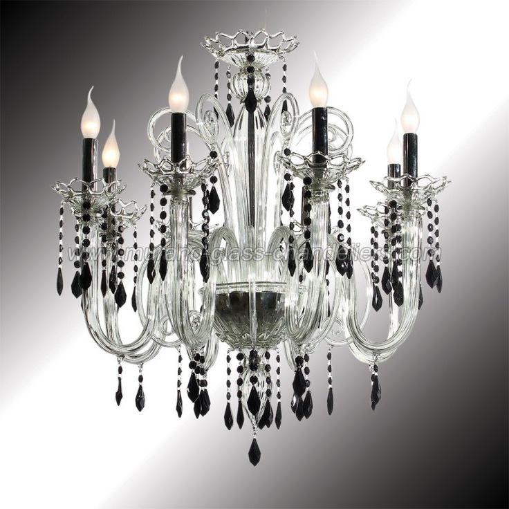 """Vittoria"" 8 lights crystal and black Murano glass chandelier"