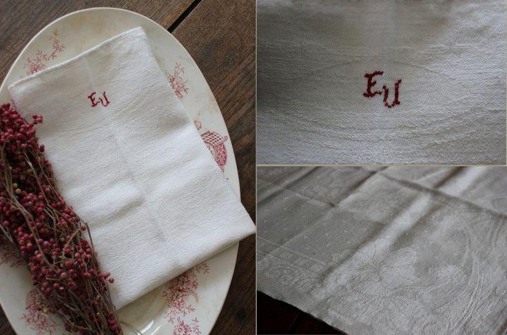 Damasten keukendoek monogram EU