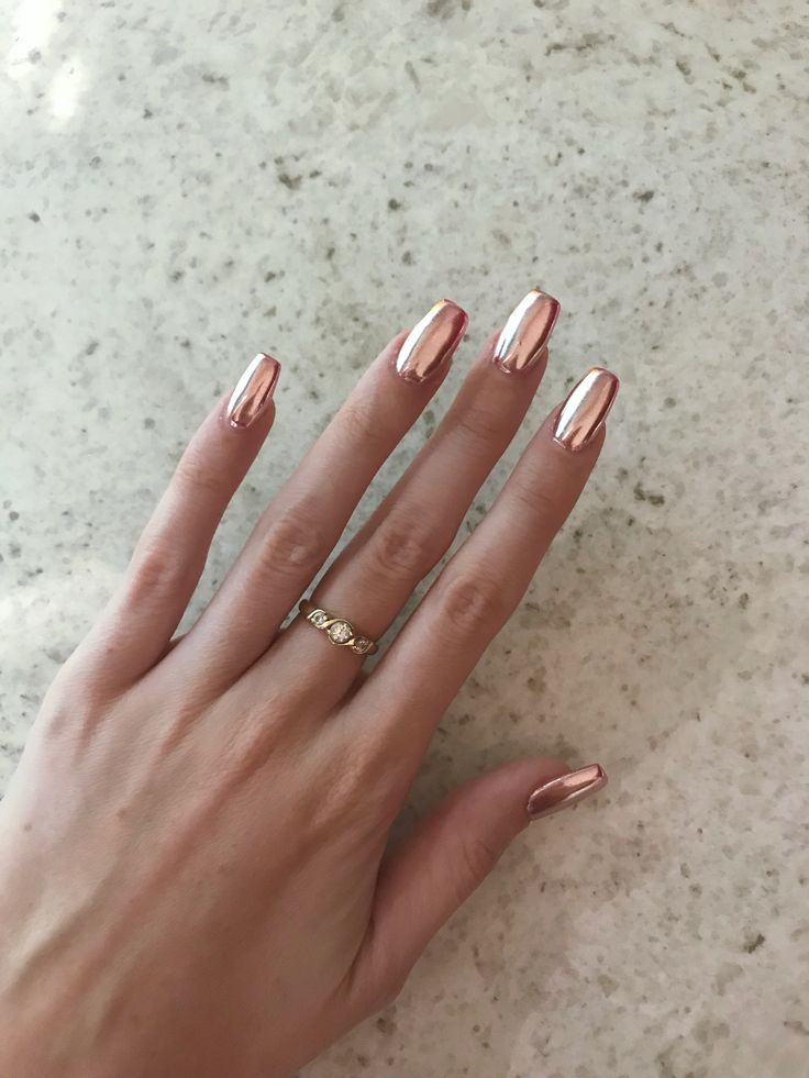 Rose Gold Chrome Gelish Polygel Nails By Blyss Beauty Achieved By Using A Fluorescent Pink Base
