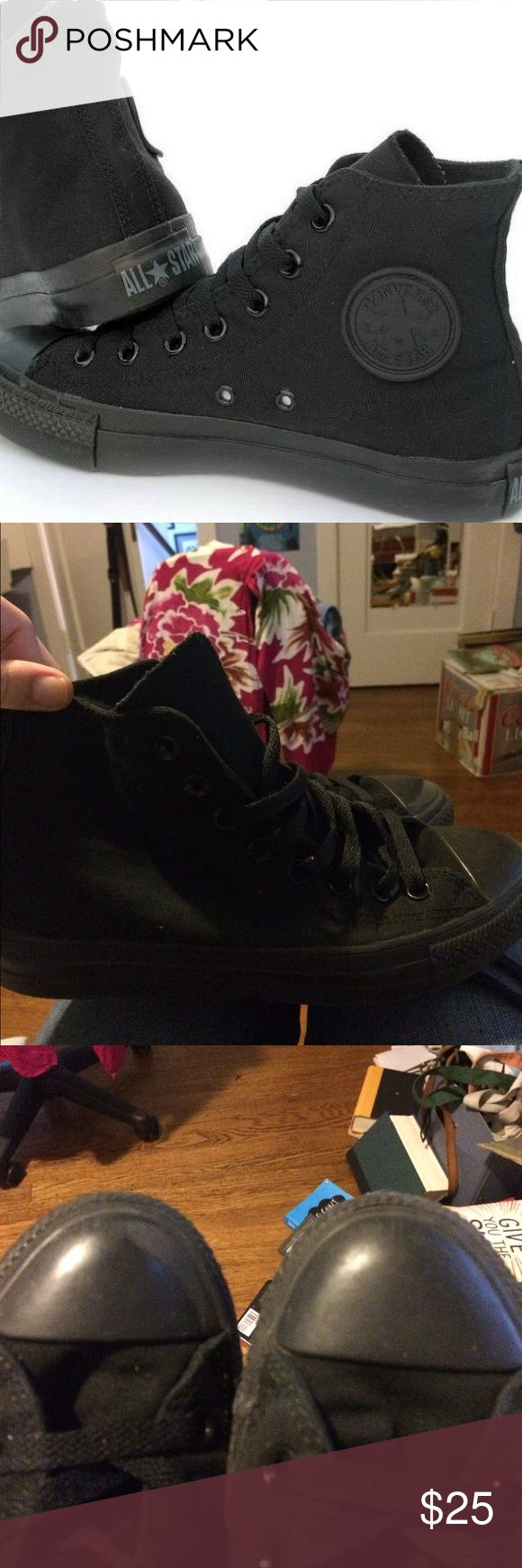 Classic All Black Chuck Taylor's Original all black converse high tops. Barely worn and in perfect shape. Feel free to make offers :) Converse Shoes Sneakers