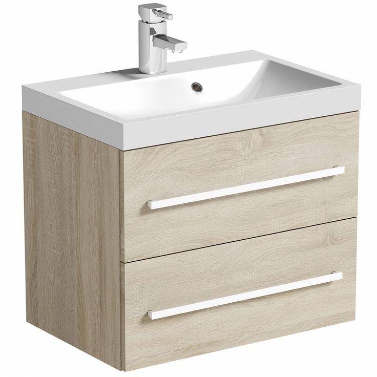 Drift+Sawn+Oak+2+Drawer+Wall+Hung+Unit+&+Inset+Basin