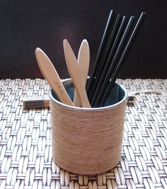 Pencil/Utensil Holder, Plant Pot of Metal & Hemp