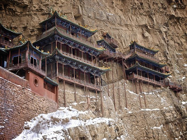 Xuankong Si, Hanging Monastery near Datong, China by chuha, via Flickr: Temple, Places I D, Travel, Architecture, Photo, China