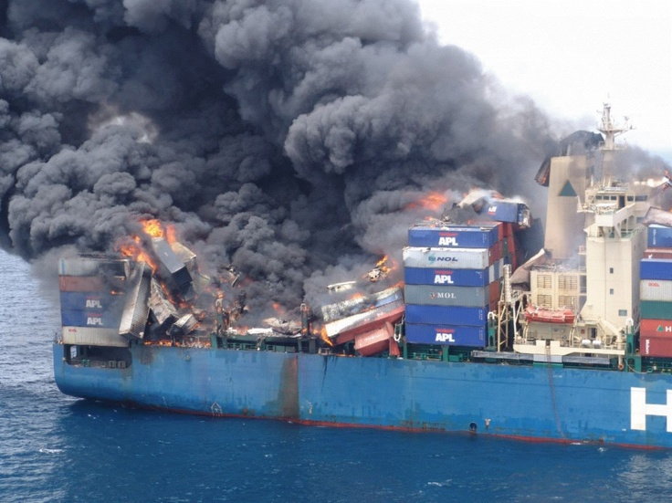 In March 2006, Panama flag container M/V Hyundai Fortune suffered major explosion & massive fire in aft on-deck container stacks. Entire after end of ship was completely involved in fire. Crew was picked up by Dutch Navy frigate HNLMS De Zeven Provincie.  Marine insight.com