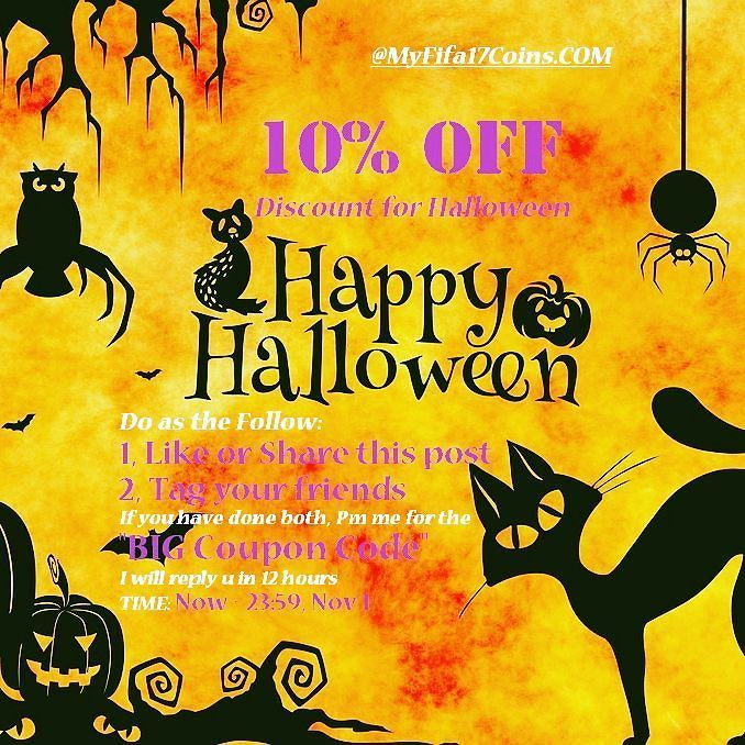 10% OFF #Discount for #Halloween    Legit & Cheap Fifa 17 Coins Store - MyFifa17Coins.COM Do as the Follow: 1 Like or Share this post 2 Tag your friends If you have done both Pm me for the BIG #Coupon Code I will reply u in 12 hours TIME: Now - 23:59 Nov 1 #UltimateScream #Fifa17 #EASportsFIFA #GoldPacks #FUT
