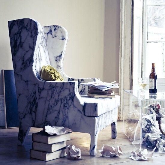 Marble print chair.Living Room Decor, Marbles Inspiration, Prints Fabrics, Fabulous Fabrics, Marbles Prints, Inspiration Fabrics, Modern Living Room, Prints Chairs, Digital Prints